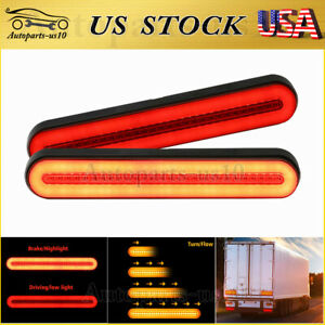 2x Led Strip Rv Trailer Truck Drl Stop Flowing Turn Signal Brake Tail Lights Bar