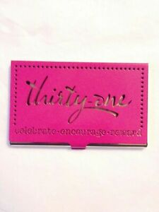 thirty one Business Card Holder Pink silver Metal Consultant Container