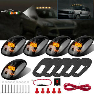 12led Amber Smoke Cab Roof Running Top Marker Clear Lights For Dodge Ram Truck