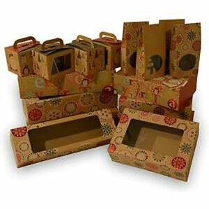 Christmas Doughnut And Cookie Gift Boxes Rectangle With Clear Window Brown Kraft