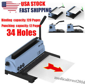 34 Holes Manual Punching Binding Machine Steel Spiral Coil Binder For 120 Pages
