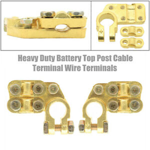 2pcs Heavy Duty Car Truck Battery Top Post Cable Terminal Wire Terminals 5 Screw