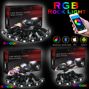 Cree RGB LED Rock Ligh tPods Off Road APP Wireless Bluetooth Music Truck ATV 12V