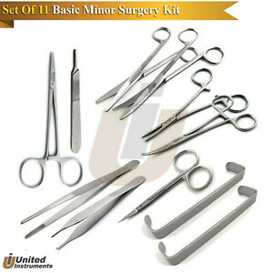 11pcs Basic Minor Surgery Kit Surgical Dissecting Instruments Delicated Forceps