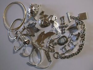 Lot Of Sterling Silver Jewelry Bracelet Necklace Pendant 212 Grams Not Scrap