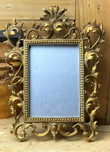 Antique Heavy Cast Brass Gold 1900 Stamped Picture Frame 12 X 9 French Victorian