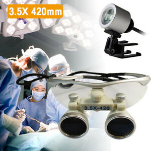2pcs Upgraded Dental Loupes 3 5x R 420mm Surgical Medical Binocular With Case