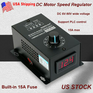 Dc Motor Speed Regulator 6v 90v Pwm Module 15a Controller Switch Display Us