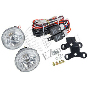 Universal 4 Fog Lamps Chrome Housing Led Blue Halo Round Drl Lights W Bulbs