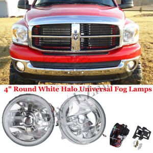 4 Round White Halo Universal Fog Lamps Chrome Housing Clear Led Driving Lights