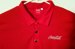OFFICIAL Coca Cola Polo Mens Large Embroidered Logo Red 100% Polyester