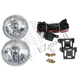 Universal 4 Fog Light Lamps Chrome Housing White Lens Round Drl Lights W Bulbs