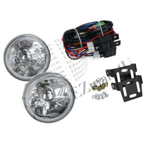 Led White Halo Clear Lens Fog Light Universal 4 Round Chrome Housing Lamps