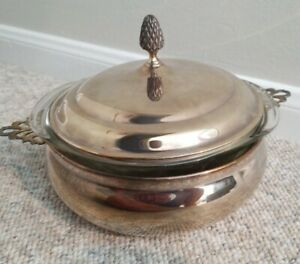 Vintage Sheffield Silver Company Covered Casserole With Pyrex Insert