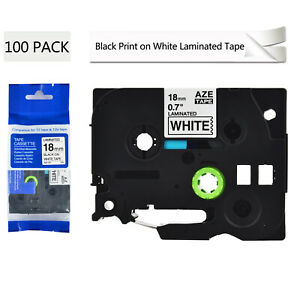 100pk Tze 241 Tz 241 Label Black On White Tape 3 4 For Brother P touch Pt 2110