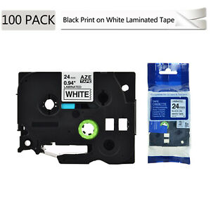 100pk Black On White Label Tape Tze251 Tz251 For Brother P touch Pt 7500 24mm 1