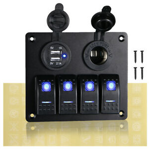 4 Gang Blue Led Rocker Switch Panel For Breakers Car Marine Boat Rv Bus Trailer