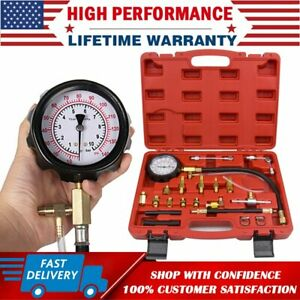 Universal Fuel Injection Gauge Pressure Tester Test Kit Car System Pump Tool Set
