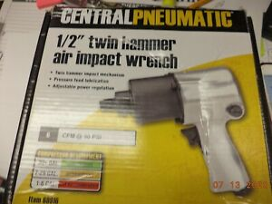 Central Pneumatic 1 2 In Twin Hammer Air Impact Wrench Model 69916 Q 01
