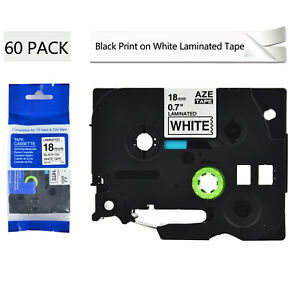 60pk Tze 241 Tz 241 Label Black On White Tape 3 4 For Brother P touch Pt 2470