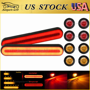 2x Led Trailer Truck Drl Flowing Turn Signal Brake Tail Lights W Marker Light