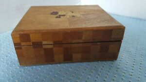 Vintage Wooden Dresser Trinket Small Box Scotty Dogs Checked Inlaid Veneerjapan