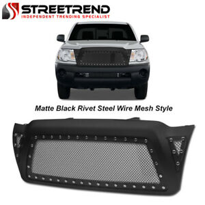 For 2005 2011 Toyota Tacoma Matte Blk Rivet Steel Wire Mesh Front Bumper Grille Fits 2007 Toyota Tacoma