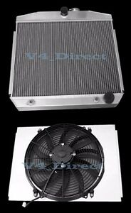 For 55 57 Chevy Bel Air Nomad V8 At 3 Row Aluminum Cooling Radiator Fan Shroud