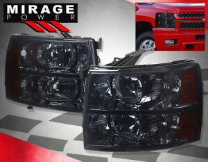 For 2007 2013 Silverado Black Headlight Brake Red Streak Tail Fog Offroad 4pc 8k