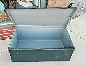 Antique Metal Large Storage Military Government Industrial Trunk Chest