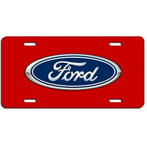 Ford Auto Vehicle Art Aluminum License Plate Car Truck Suv Metal Red Tag