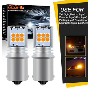 Glofe Amber 1156 Led Rear Blinker Turn Signal Light Bulbs Ba15s 15smd 3030 2pcs