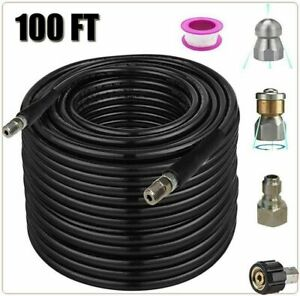 Sewer Jetter Nozzles Kit 100ft Pressure Washer Hose 1 4 Inch