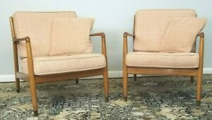 1950 S Folke Ohlsson Lounge Chairs By Dux Original Fabric Pink Matching Pair