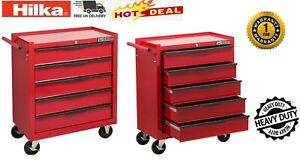 Hilka Tool Chest Trolley 5 Drawer Red Metal Mobile Roll Wheels Cabinet Storage
