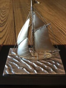 Vintage Sail Boat 950 Sterling Silver Model Ship Yacht Japan Maritime Miniature