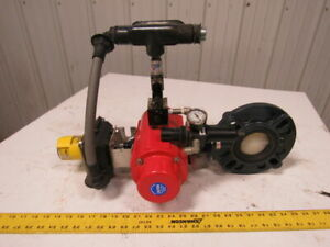 Asahi 3 Lug Type Pvc Butterfly Valve Assembly Air Actuated Spring Return