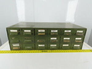 18 Drawer Industrial Metal Filing Parts Cabinet 33 3 4 w X17 d X 11 h