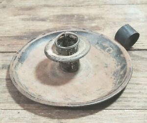 Antique Primitive Tin Iron Finger Loop Candlestick Candle Holder W Drip Ring