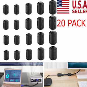 20 Cable Clips Clip on Ferrite Ring Core Rfi Emi Noise Suppressor Filter Beads