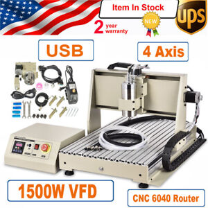 1 5kw Usb 4axis Cnc 6040 Router Engraver Machine Mill 1500w Vfd Spindle Motor
