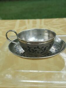 Russian 1870 Niello Small Cup And Plate