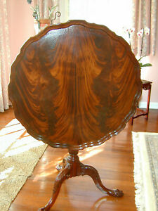 Councill Craftsmen Flame Mahogany Carved Pie Crust Occasional Table W Claw Feet