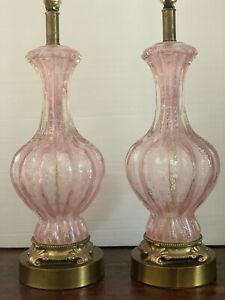 Vintage Pair Murano Barovier Toso Pink Silver Fleck Bedside Table Glass Lamps