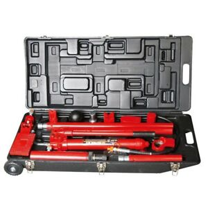 Big Red 10 Ton Porta Power With Wheel Case Complete Kit Heavy Duty Snap Lock