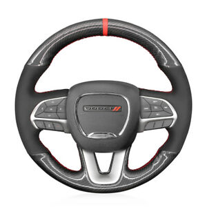 Pu Carbon Fiber Suede Steering Wheel Cover For Dodge Challenger Charger Durango