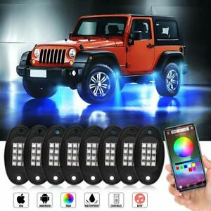 8 pods Rgb Led Rock Lights Wireless Bluetooth Music Multi color Off Road Truck