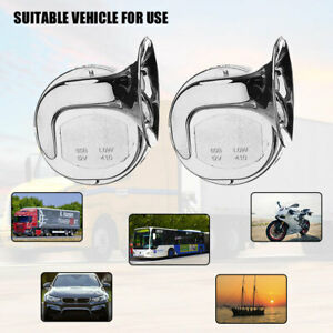 Pair 118db 12v Electric Auto Snail Air Horn Loud For Motorcycle Car Truck Boat