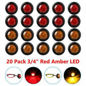 20x 3 4 Inch Amber Red 12v Led Clearance Marker Light Bullet Truck Trailer Lamp