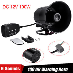 100w Car Warning Alarm Police Fire Siren Horn Pa Speaker Mic System 6 Sound Loud